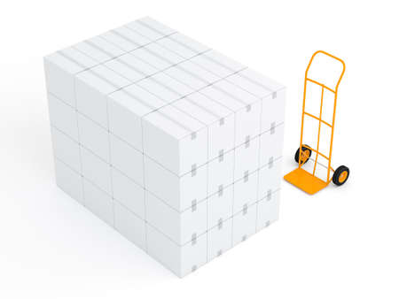 Yellow Hand truck with stack of white cardbord boxes in white studio