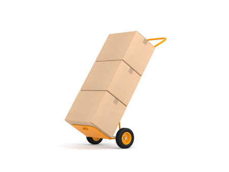 Yellow Hand Truck with cardboard boxes isolated on white Reklamní fotografie