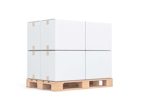 Four White cardboard boxes mockup on wooden euro pallet Reklamní fotografie
