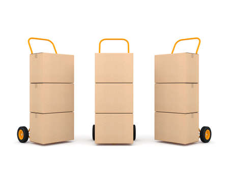 Three Hand Trucks with brown cardboard boxes isolated on white Reklamní fotografie