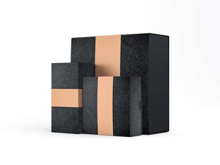 Black boxes mockup for branding with golden ribbon label Reklamní fotografie