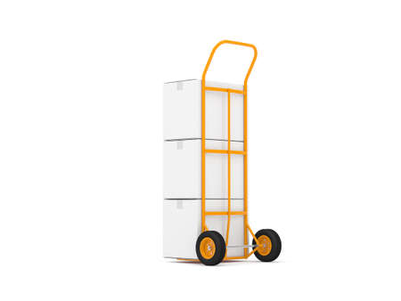 Hand Truck with three white cardboard boxes