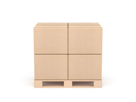 Stack of Four cardboard boxes mockup on euro pallet, isolated on white
