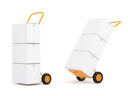 Two Hand Trucks with white cardboard boxes isolated on white