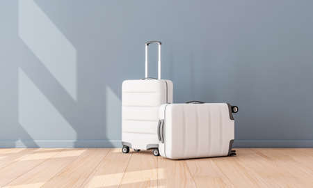Two White Luggage mockup in empty room, Suitcase, baggage Zdjęcie Seryjne