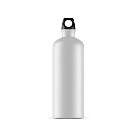 Aluminum water sport bike Bottle Mockup isolated on white background