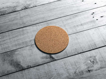 Round Cork pad, beer coaster Mockup on the white wooden table