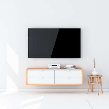 Smart Tv Set Mockup with black screen hanging on the wall in modern interior Imagens