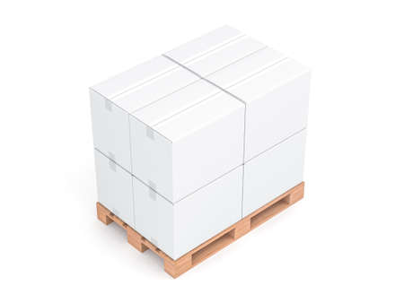 White cardboard boxes mockup on wooden euro pallet isolated on white background