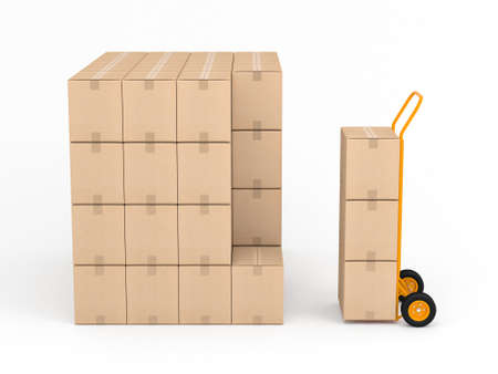 Orange Hand truck with stack of cardbord boxes in white studio Zdjęcie Seryjne