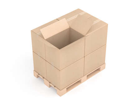 Opened cardboard box with stack of boxes mockup on euro pallet