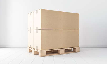 Stack of Four Brown cardboard boxes mockup on euro pallet, in white room Zdjęcie Seryjne