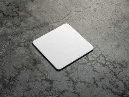 White cardboard square beer coaster Mockup on the concrete floor Stockfoto