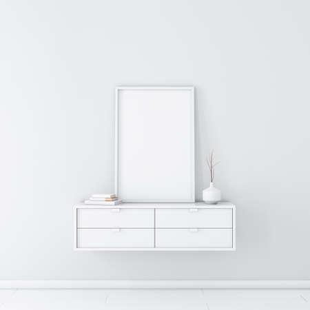 White vertical poster with frame mockup in modern white interior Banco de Imagens