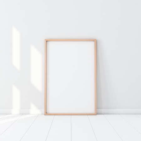 Wooden Frame with Poster Mockup standing on the white floor