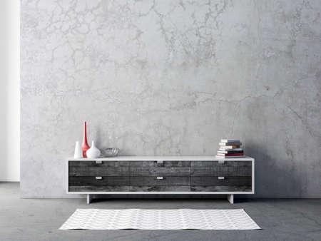 Modern black bureau or tv console mockup in empty living room
