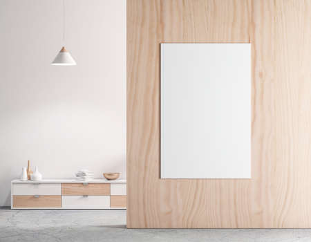 Vertical Poster Mockup on Wooden wall in empty modern interior