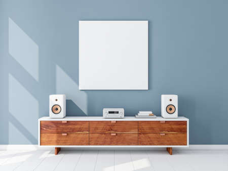 Square white canvas Mockup hanging on the Blue wall, hi fi micro system on bureau 写真素材