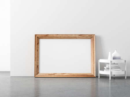 Horizontal Wooden Frame Mockup standing on the floor, for your artwork or poster