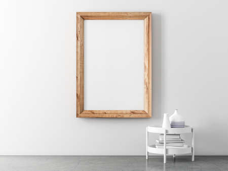 Wooden vertical poster Frame Mockup hanging on white wall in empty room