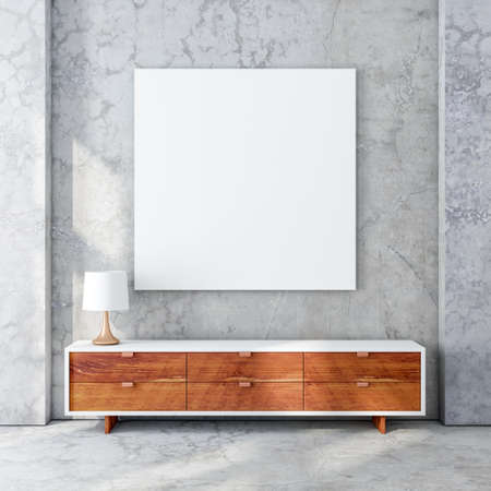 Square poster canvas mockup in modern living room with bureau 写真素材