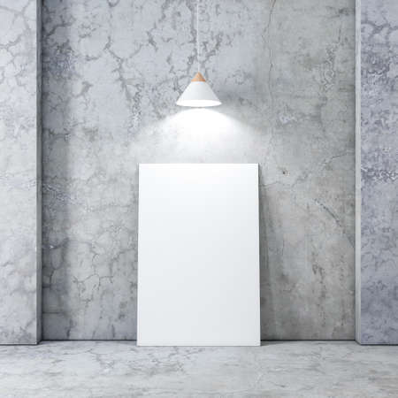 Large Poster or Canvas Mockup in empty interior with concrete wall and floor, white modern lamp above the picture 写真素材