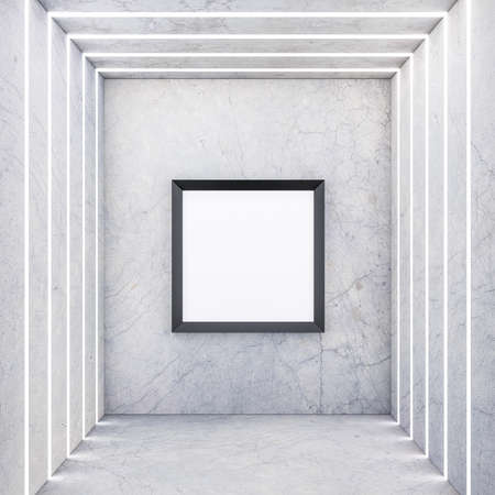 Square black Frame on concrete wall with light stripes