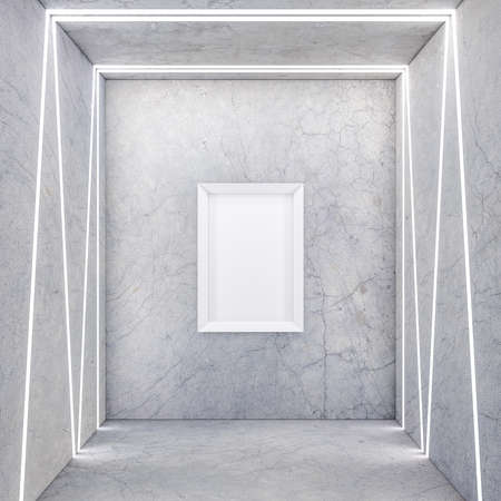 Vertical Poster with White Frame Mockup on concrete wall with light stripes 写真素材