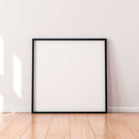 Square Poster with Black wooden Frame Mockup standing on the floor