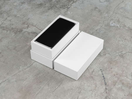 White retail opened box with mobile smart phone inside, 3d rendering 写真素材