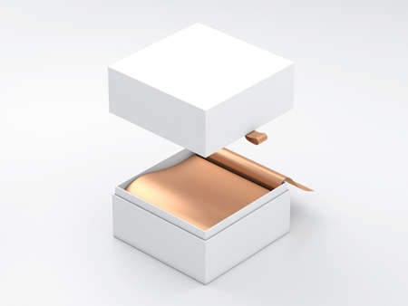 White square Box Mockup with flying cover and gold wrapping paper 写真素材
