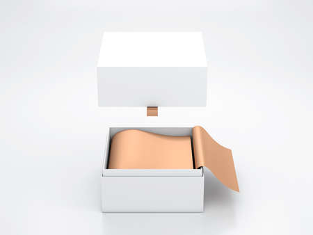 White opened Box packaging Mockup with Flying cover and gold wrapping paper