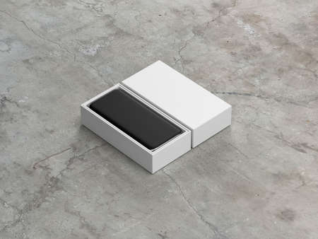 White opened box with mobile smart phone inside, 3d rendering