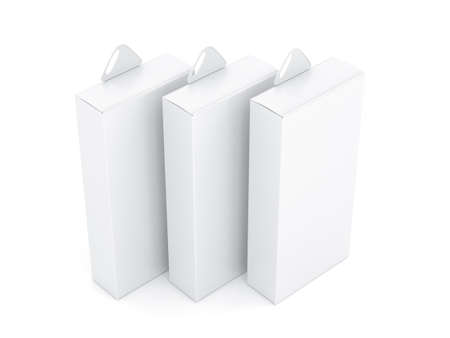 Three White Boxes Mockup with plastic Hang Tab in light studio, 3d rendering 写真素材