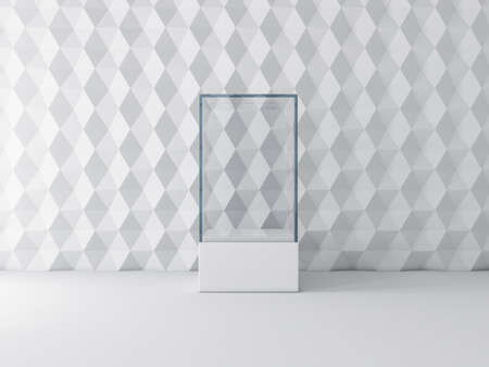 Blank white glass showcase box mockup, isolated on gray 写真素材