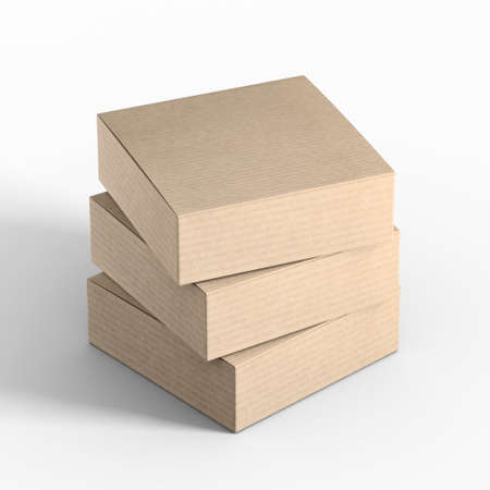 Three Cardboard boxes, 3d rendering