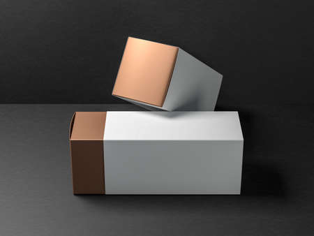 Two Golden Gift Boxes package Mockup with white cases