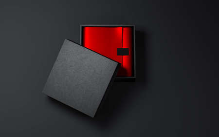 Square Black Box with Red wrapping paper and label sticker 写真素材