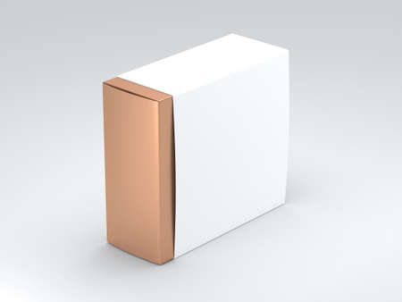 Golden square Box with white Cover. 3d rendering