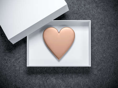 Golden Heart in White Box Mockup