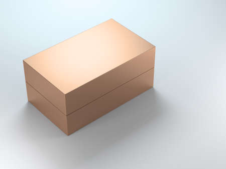 Golden gift Box Packaging. 3d rendering