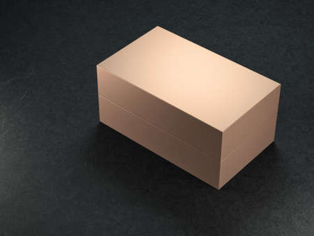 Golden Box Mockup, 3d rendering