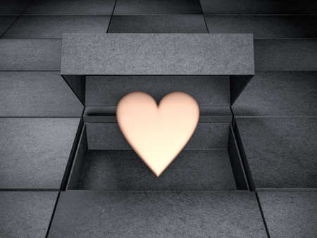 Golden Heart Mockup in opened Black Box