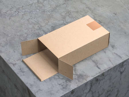 Open Kraft paper cardboard box Mockup with Gold Sticker