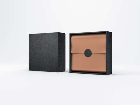 Two Black Boxes Mockup with copper gold wrapping paper