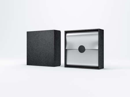 Two Black Boxes Mockup with silver wrapping paper, opened and closed in white studio 写真素材