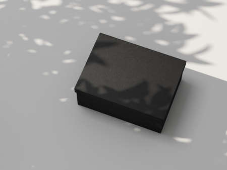 Black carton Box Mockup on white table