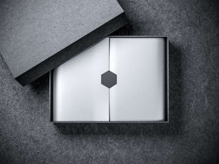 Black Box Mockup with silver wrapping paper
