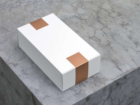 White cardboard box Mockup with Gold Stickers on concrete table
