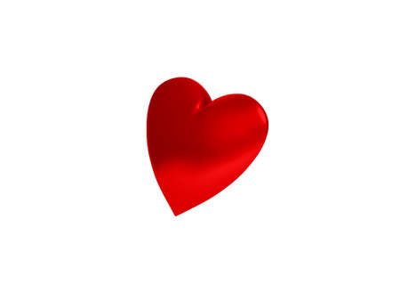 Matte Red Heart isolated on white, 3d rendering